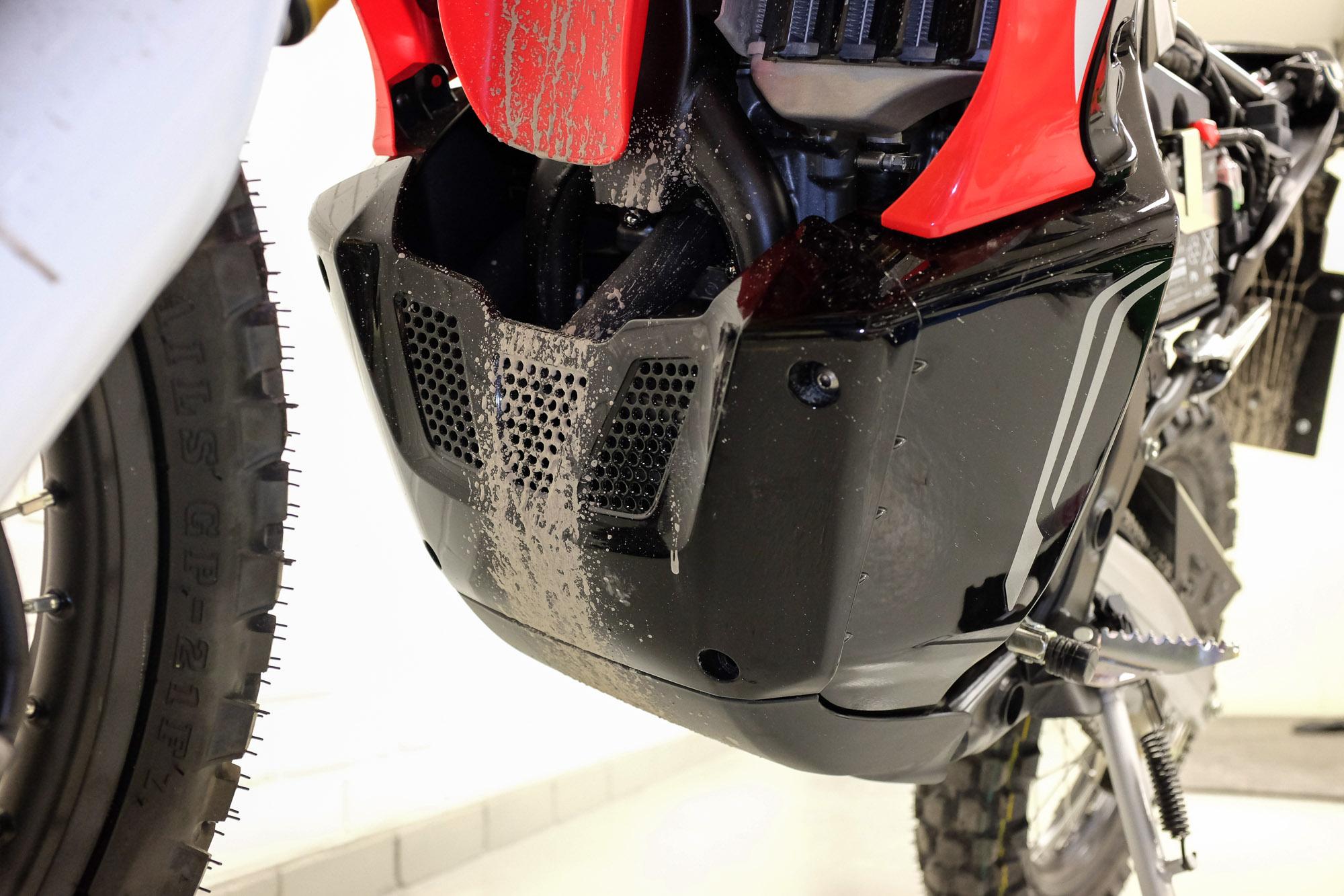Honda CRF 250 Rally bash plate under closer inspection