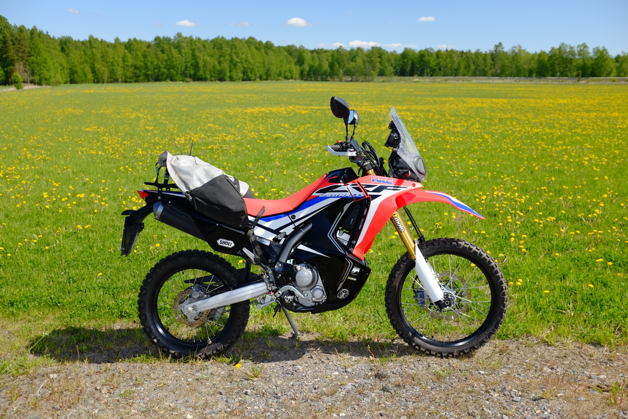 Giant Loop saddlebag on Honda CRF 250 Rally